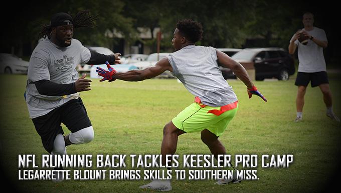 NFL running back tackles Keesler Pro Camp